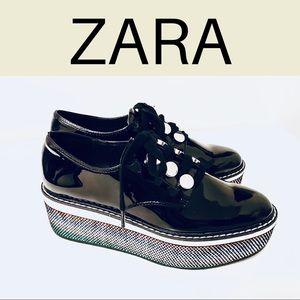 Zara Women Faux Patent Leather Wedges
